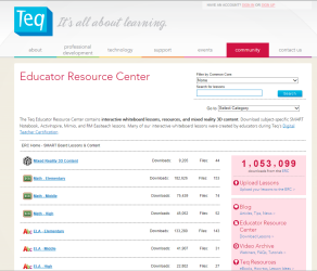 Teq Educator Resource Center page